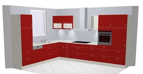 Preisbeispiel Nobilia Gloss 870 Rot, L-Küche 300 x 380 cm