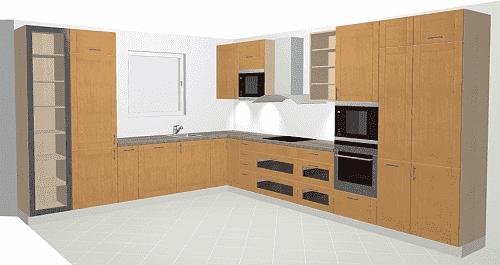 h cker bali k che in klassischer holzoptik. Black Bedroom Furniture Sets. Home Design Ideas