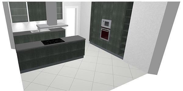 Bauformat Küche Best 134 cp in Concrete Anthracite