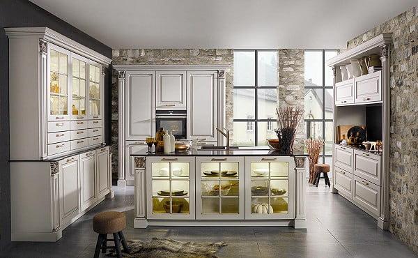 Bauformat Küche Medina in 641 FG 444 Magnolia seidenmatt, Patina Kupfer