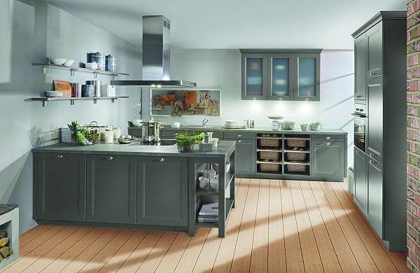 Bauformat Küche Torino S in 490 FG 498 Haze Blue seidenmatt